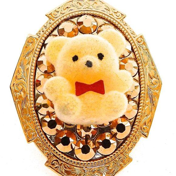 YELLOW FUZZY BEAR GOLD RHINESTONES RING